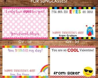 12 Printed Boy and Girl Valentine Cards for Sunglasses Glasses - Can personalize - Choose ONE design