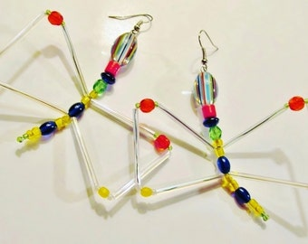 """4""""/Figural/GLASS/BUTTERFLY/EARRINGS/ Exotic/Wire/Swarovski/Crystals/Striped/ Clear/Red/Blue/Yellow/Teen/Ladies/ Women/Jewelry/Gift/For/Her"""