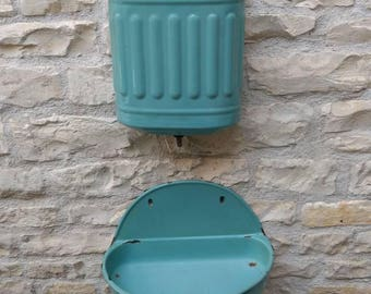 French vintage enamelware aged eau de nil coloured fountain, circa 1930s.