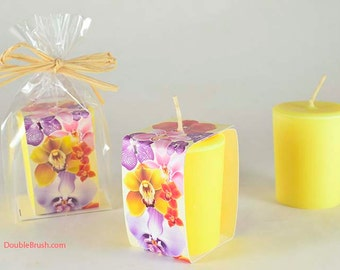 Orchid Candle Yellow Soy Candle Large Votive Orchid Lover Gift Orchid Scented Candle Handmade Candle Made in Hawaii Hawaiian Candle Gift