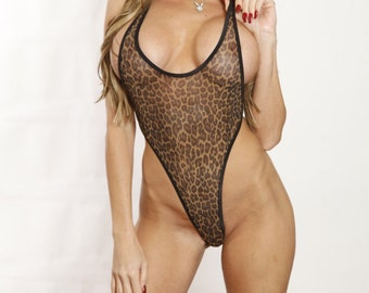 Bitsy's Bikinis Dark Brown Leopard Mesh Monokini Micro G-String Thong One Piece Minimal Coverage See Through When Wet with Black String
