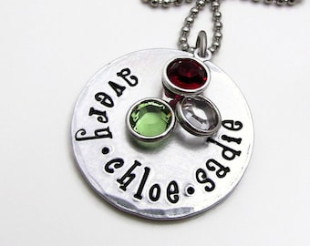 Personalized Jewelry, Hand Stamped Necklace, Personalized Birthstone Necklace, Mom Necklace, Personalized Necklace for Mother Day Gift