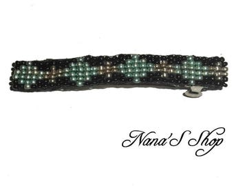 hair clip, woven, black beads and Mint