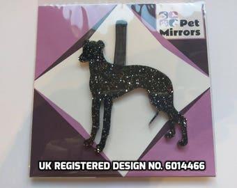 Glitter acrylic Greyhound Christmas decoration - 9 colour choices