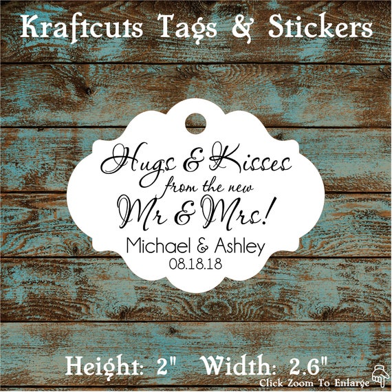 Hugs and Kisses Personalized Wedding Reception Favor Tags # 667 Qty: 30 Tags