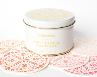 Deluxe Letterpress Coaster Tin | Botanical Bloom | Set of 25