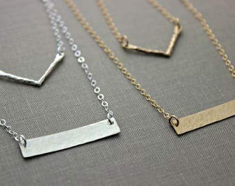 Layered necklaces - Chevron design and skinny horizontal bar - Layering Jewelry - Sterling silver, gold filled and bronze