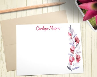 Personalized Stationary, Custom Stationery Set, Thank You Cards, Floral Notecards, A2 Note Cards With Envelope, 12 Flat Note Cards, PS004