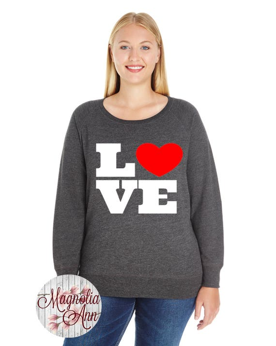 Love Heart French Terry Sweatshirt, Sizes Small-4X, Plus Size Sweatshirt, Valentines Shirt, Valentines Day Shirt, Valentines Day Sweatshirt