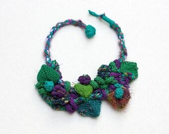 Green purple bib necklace, statement knitted jewelry, OOAK fiber necklace