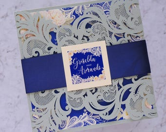 Laser cut wedding invitation with belly band