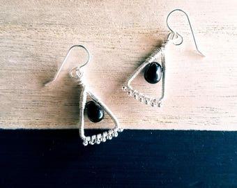 Silver Black Glass Earrings, Wire Wrapped Earrings, Beaded Earrings, Handmade