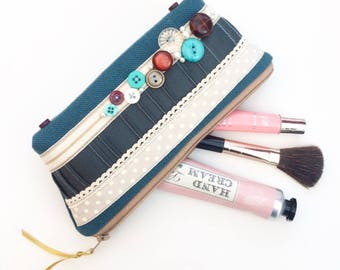 Makeup Bag with Vintage Buttons, make up bag, cosmetics case, pencil case