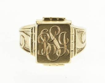 10k Cursive Monogram BJS Ornate Scroll Pattern Ring Gold