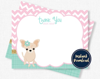Puppy Party Thank You, Dog Birthday Thank You Cards, Chihuahua Thank You Printable INSTANT DOWNLOAD