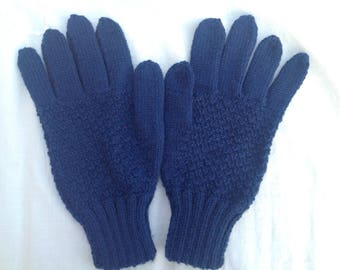 Men's gloves. handknit blue merino wool gloves.