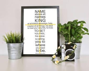 Christian Wall Art, Christian Gifts, Christian Prints, Christian Art, Framed Print, Isaiah 53:11-12, Name Above