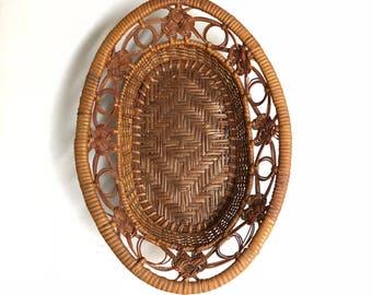 Beautiful wicker basket with a diamond weave