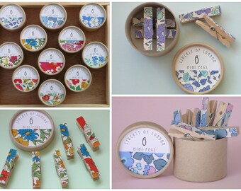Liberty of London Mini Clothespins Tiny Floral Clothes Pins Miniature Flower Decorated Pegs