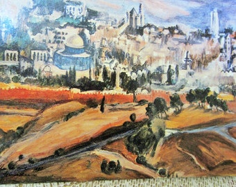 Set of 4 Vintage Colorful Post Cards of Jerusalem