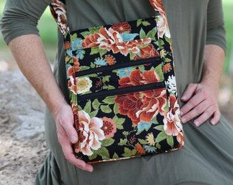 crossbody zipper purse - floral fabric bag - hipster bag - side bag - zipper closure - lots of pockets - shoulder bag