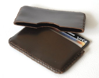 Card holder, Brown card holder, Leather card holder, Card case, Business card case, Leather wallet, Credit card wallet, Gift for man.