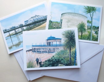 Eastbourne Seafront Blank Cards, Set of 3
