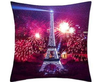 Paris Eiffel Tower Fireworks Cushion Cover (C155)