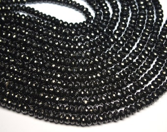 Sparkling 5 x 10 Inch 7-8mm Natural Black Spinel Faceted Rondelle Beads Strand-Black Spinel Beads-59 Beads Apx/Strand