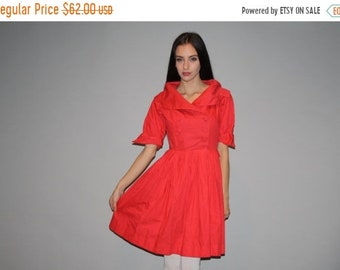 On SALE 60% Off - Vintage 1950s Coral Red Cotton Party Dress  - Vintage 50s Cotton  Dress - VTG 50s Dress - W00256