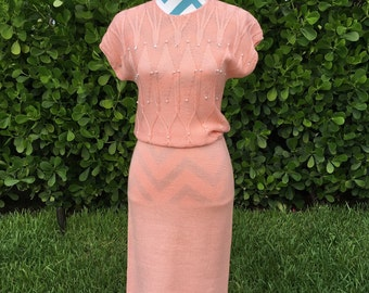 Vintage Knit Dress Pink Peach with Pearl and Sequin Embellishment Pencil Skirt Short Sleeve Dress Fitted by Rimini Small