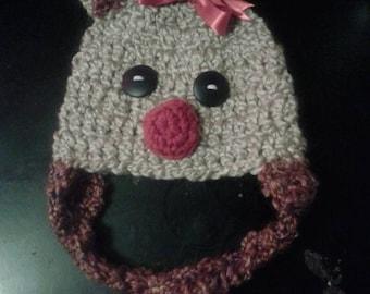 Crochet reindeer hat rudolph hat winter hat