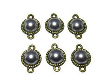 set of 6 connectors 10mm grey Pearl cabochon