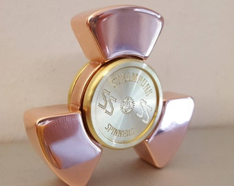 Ships NOW! The Phat Boy fidget spinner in POLISHED COPPER!  Half Inch Thick Copper with Engraved Brass Bearing Caps.  Deluxe edc spinner