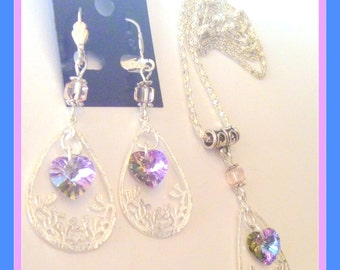 Handcrafted Silver Filigree Crystal Vitrail Heart Necklace and Earrings SEt