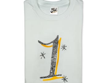 Girl's 1st Birthday t-shirt. Number 1 kids white/ grey Tee. One glitter 'bling' gift- Any size! First Birthday party  Outfit