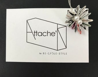 Recycled Magazine flower Silver 925 chain Necklace