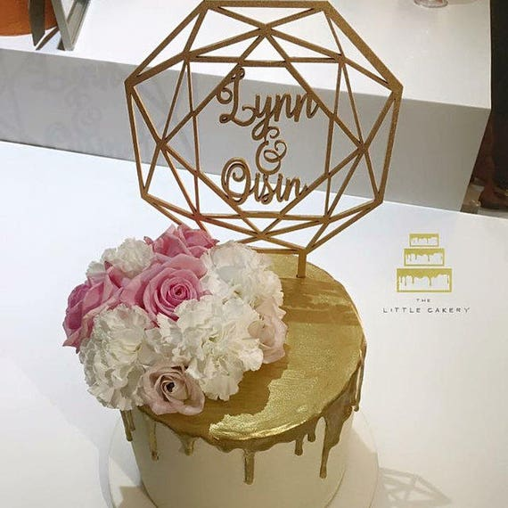 Personalized Name Cake Topper, Wedding Cake Topper, Geometric Cake Topper, Custom Geometric Cake Topper, Glitter Cake Topper, Wooden Cake
