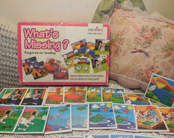 Whats Missing Card Game  Preschool Card Game, Vintage Preschooler Game, Learning Game, Vintage Child's Game,