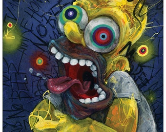 """Homer Simpson Art   The Simpsons   Giclee Canvas Reproduction of """"Homer"""" by Black Ink Art"""