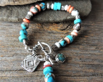 Turquoise Bracelet, Rustic Handcrafted, Southwestern Style, Artisan Jewelry, Handmade Silver, Layering Jewelry, Trending Jewelry, Urban Chic