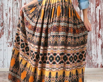 Women's long skirt with pleats in cotton/Panel Maxi skirt/skirt Skirt Skirt hippie boho Gypsy///gift ideas for her