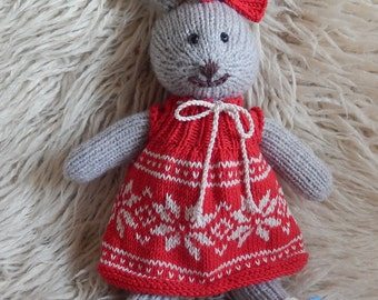 Hand Knitted Bunny / Stuffed Animal / Christmas Bunny / Hand Made Rabbit / Soft Bunny / Knitted Animal / Bunny Doll