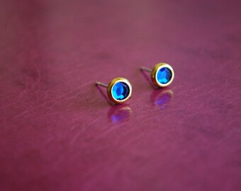Tiny Blue Studs -- Earrings, Blue Rhinestones, Gold