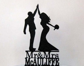 Personalized Wedding Cake Topper - High Five 2 with Mr & Mrs last name