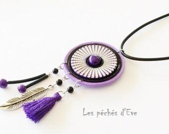 Dream catcher purple polymer clay pendant