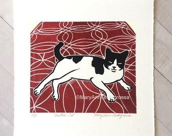 Cat Print, Tuxedo Cat Print, Cat Art Print, Tuxedo Cat Art Print, Cat Linocut Print, Cat Lino Cut Print