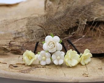 White & Ivory  Hair Pieces, Paper Flower Hair Pins , Bridal Hair Pins, Hair Bobby Pins,rustic wedding,Bridal Hair Accessories (FL379)