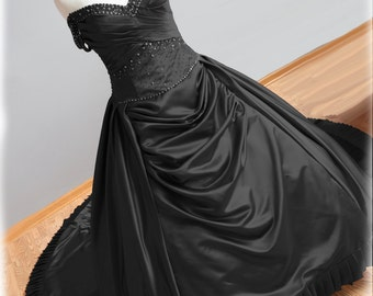 Black Wedding Dress Gothic Wedding Dress Ball Gown Style with Pleats and Crystal Beading, Custom Made in your size