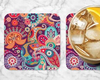 Retro Floral Coasters, Custom Coasters, Coaster Set, Personalized Coasters, Purple Coaster, Pink Coaster, Housewarming Coasters (0003)